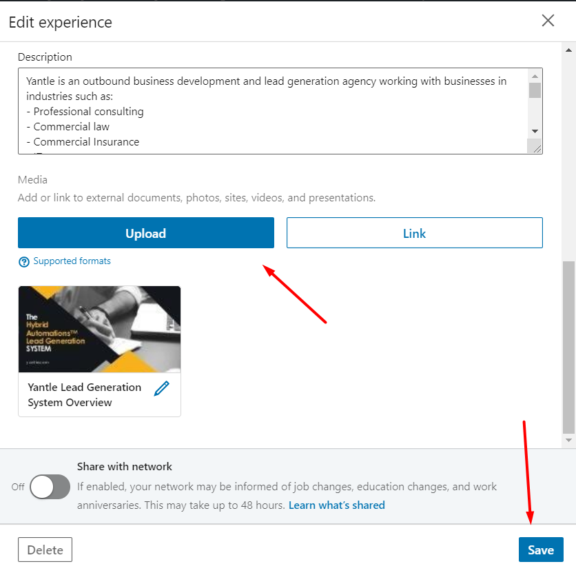 improve linkedin profile with media files